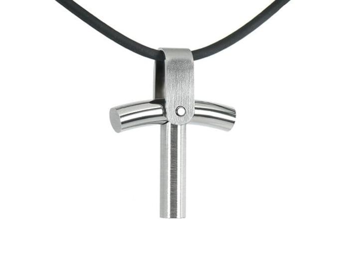 Trendy Cross Pendant in Stainless Steel Mens Design