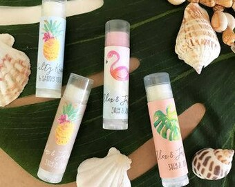 Personalized Tropical Beach Lip Balm Tubes - Set of 24