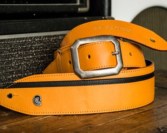 Etabeta Guitar Strap-guitar and bass shoulder bag in genuine orange and black vegetable tanned leather-ROUTE 66 Std-Made in Italy