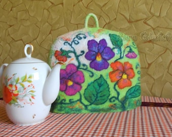 Felted Tea Cosy READY TO SHIP  Teapot Cover Tea Warmer Teapot Cosy Art Tea Cosy Table Linens Handmade Cover Unique Gift for tea lovers