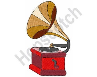 Vintage Phonograph - Machine Embroidery Design, Phonograph, Vintage