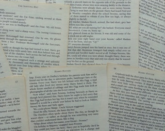 Harry Potter Assorted Book Pages - 10 pages - Stone - Chamber - Prisoner - Goblet - Order - Prince - Hallows - Cards - Bunting - Confetti