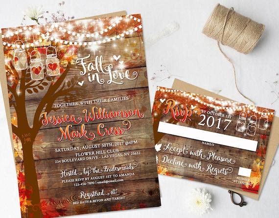 Rustic fall wedding invitations heart carved oak tree autumn