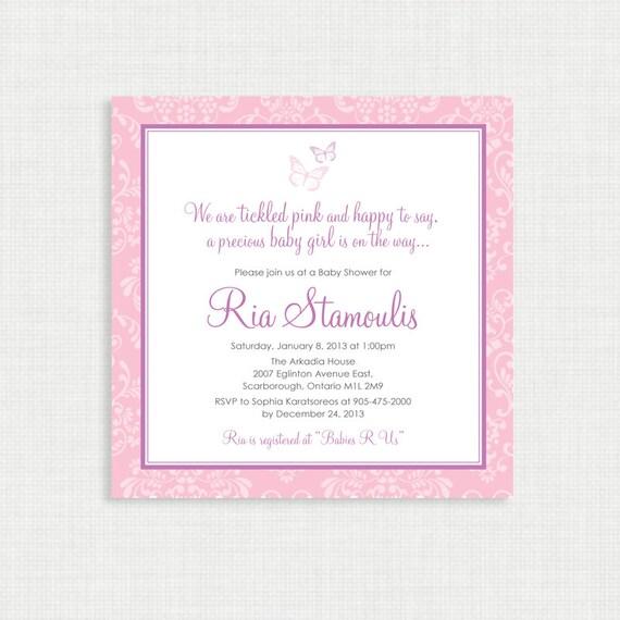 Printable Baby Shower Invitation- Girl Baby Shower Invitation - Butterfly Baby Shower - Baby Girl Invitation