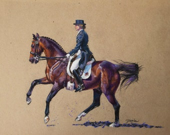 "Large Print- ""Grace and Precision"", horse, rider, sport, equine, dressage"