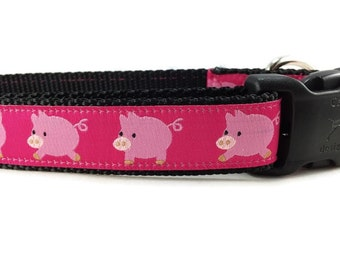Dog Collar, Pigs Dog Collar, 1 inch wide, adjustable, quick release, metal buckle, chain, martingale, hybrid, nylon
