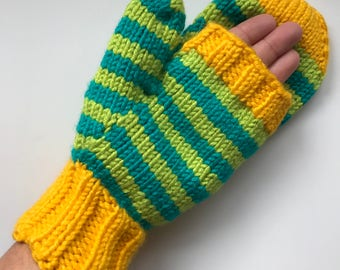 Flip-Top Convertible Mittens in Gold, Bright Teal, and Lime Green Stripe