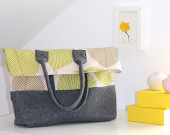 Grey Cotton and Felt Women's Bag