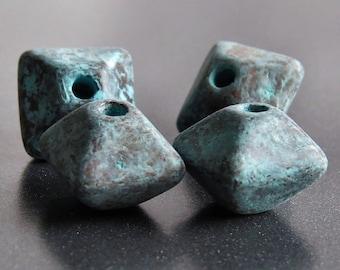 12mm Oxyhedron Green Patina Metallized Mykonos Greek Ceramic : 4 pc Ceramic Oxyhedron Bead