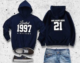 1997 Limited Edition Birthday Hoodie 21st Custom Name Celebration Gift mens womens ladies hooded sweatshirt sweater Unisex Personalized