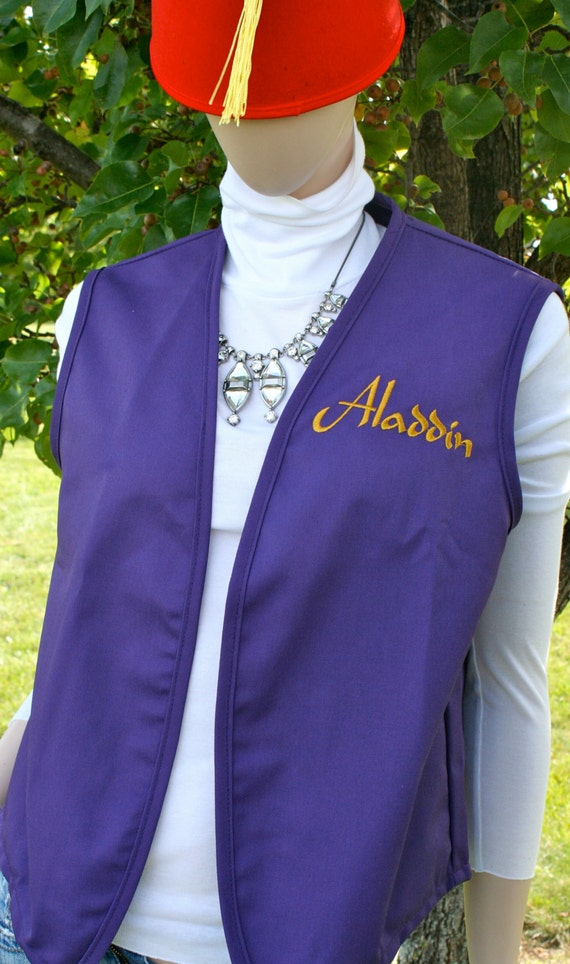 Adult Aladdin Halloween costume! Embroidered Purple vest (8 sizes small to adult 2XL) Aladdin + red hat with tassel costume. Cosplay