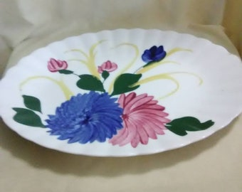 Vintage white platter with blue and pink pom pom flowers. Oval. Ceramic.