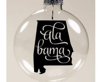 Alabama State Outline AL Christmas Ornament Glass Disc Holiday Black Friday Jenuine Crafts