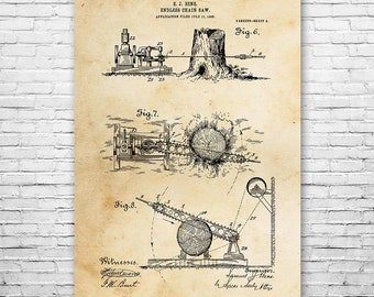Endless Chain Saw Poster Patent Art Print Gift, Chainsaw, Chainsaw Poster, Chainsaw Patent, Logging Gift, Logger Gift, Logging Equipment