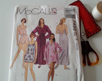 Womens Lingerie Pattern McCall's 7450 Robe Nightgown Camisole Panties Shorts Curvy Women Bridal Shower Wedding Birthday Gift for Her Vintage