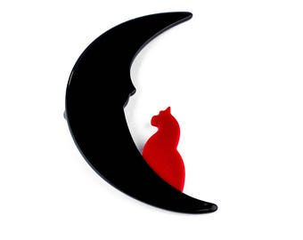 Resin Cat on Crescent Moon Brooch
