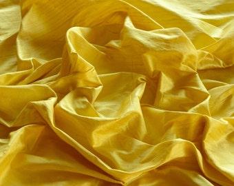"Lemon Yellow Dupioni Silk, 100% Silk Fabric, 44"" Wide, By The Yard (S-127)"