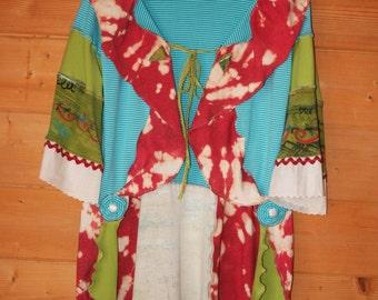 Boho Gypsy Fantasy Funky Womens Designer Tunic Coat Jacket upcycled fabrics turquoise red & green one-of-a-kind Large, XL