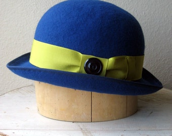 """Royal Blue Wool Felt Bowler Hat With Chartreuse Band and Vintage Button - Size 22"""" - Ready To Ship"""