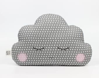Gray baby cloud pillow, gray cloud cushion, kids pillow, kids cushion, kids throw pillow, personalized baby pillow, name pillow, baby gift