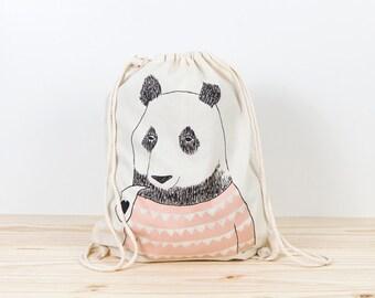 Bear Backpack Tote, depeapa, screen printed canvas backpack, organic canvas backpack, illustration, gift, panda bear backpack, love, pink