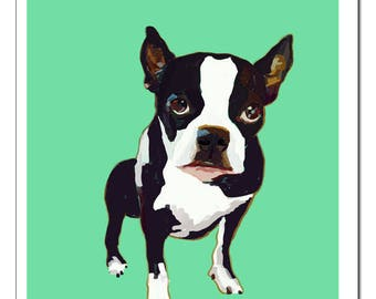 Boston Terrier Dog Illustration-Pop Art Print