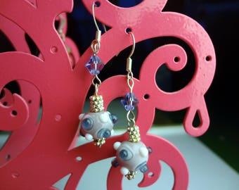 Purple Lampwork Glass Drop Earrings