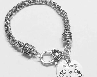 Partners In Crime Charm Bracelet, Best Friend Gift, Best Friend Charm Bracelet, Sister Gift Bracelet