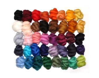 40 Colours x 2.5g (100g), Needle and Wet Felting Wool, Merino Wool Tops - Small Pack