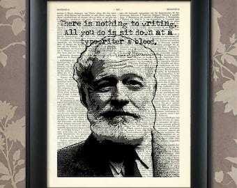 Ernest Hemingway, E Hemingway print, Hemingway poster, Ernest Hemingway art, Hemingway gift, Ernest Hemingway quote, Hemingway quote
