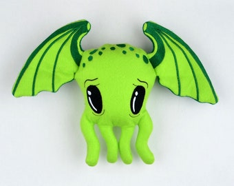 Cutie Cthulhu stuffie / stuffy ONE SIZE 5x7 ITH machine embroidery design