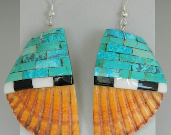 Native American Santo Domingo Turquoise Jet  Sterling Silver Mosaic Shell Earrings - James Coriz
