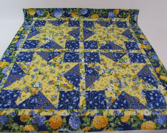 Quilted Square Table Topper or Lap Quilt in blue and yellow floral prints add traditional accents to your home
