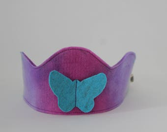 Hand Dyed Wool Felt Crown with Blue Butterfly, Reversible Waldorf Birthday Crown
