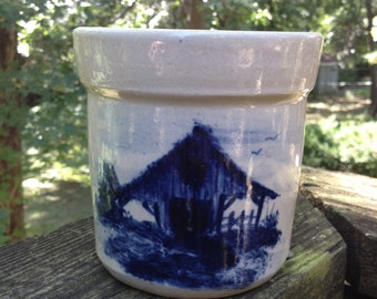 P. R. Storie Pottery Co. Crock with Barn Imagery