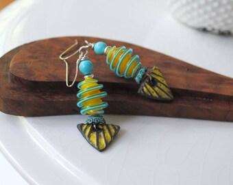Yellow Ceramic Earrings, Geometric Earrings, Lampwork Glass Bead Earrings, Triangular Earrings, Spiral Earrings, Unique Artisan Earrings