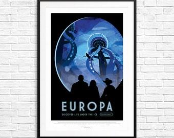 NASA Europa poster, Nasa posters, space art prints, space posters, astronomy posters, astronaut art, space theme, kids room decor, art print