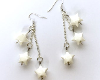 Celestial Jewelry // Multistrand Star Earrings // White Stars // Constellation Earrings // Statement Jewelry // Gifts for Her // Bridal
