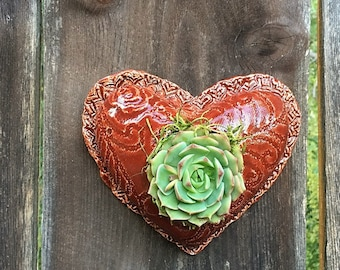 Ceramic Heart Planter-Succulent Planter-Mini Planter-Succulent Gift-Garden Decor-Anniversary Gift-Gift for Mom-Plant Mom Gift-Mothers Day