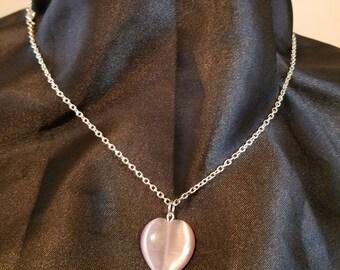 purple glass heart necklace heart pendant catseye silver chain romance handmade glass heart jewelry
