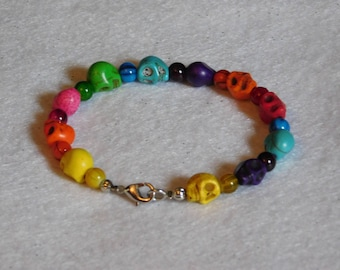 Small Rainbow Skull and Bead Bracelet