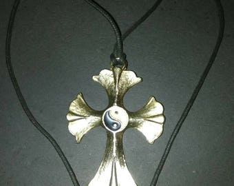 Vintage 90's Pewter Cross with Ying/Yang