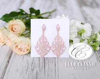 Rose Gold Bridal Earrings | Wedding Jewelry | Bridesmaid Earrings | Bridal Jewelry | Chandelier Earrings | Weddings
