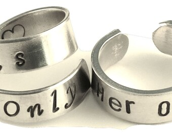 Her One His Only - Couples Jewelry Adjustable Aluminum Wrap Ring
