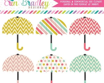 80% OFF SALE Cheerful Umbrellas Clipart Graphics Digital Shower Clip Art Personal & Commercial Use Instant Download