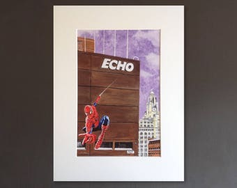 SPIDERMAN wall art - giclee print of 'Scouse Superhero Scandal' painting by Stephen Mahoney - Liverpool influenced Spiderman artwork