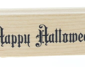 Happy Halloween Words Writing Sentiment Wooden Rubber Stamp