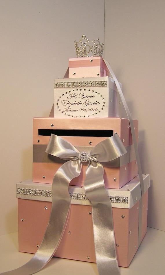 Quinceaera sweet 16 birthday card box blush pink white bookmarktalkfo Choice Image