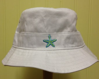 Turquoise/Lime Starfish Bucket Hat - Toddler