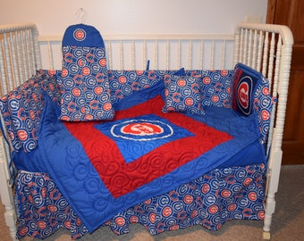 New Crib Bedding m/w Chicago Cubs Fabric